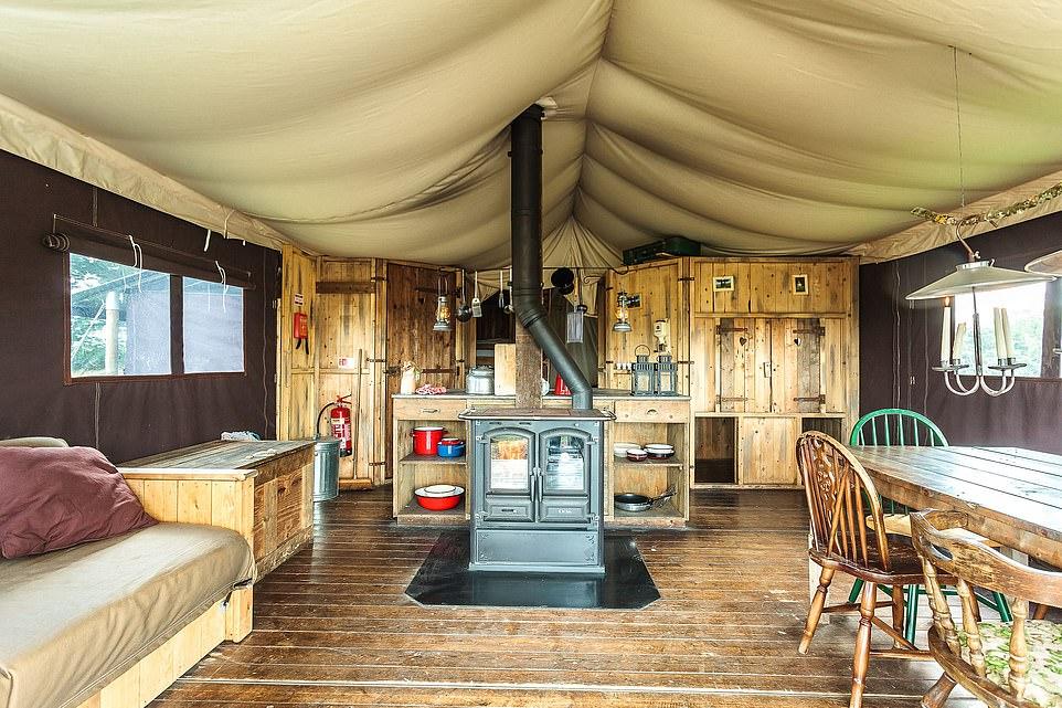 Inside a canvas lodge at Fountain Violet Farm near Kingswear in Devon. The farm is set in 130 acres of rolling grassland