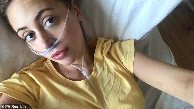 Sacha was diagnosed with stage 3 triple-negative breast cancer - a relatively uncommon form of breast cancer that is usually more aggressive and harder to treat than other types. She is pictured in hospital