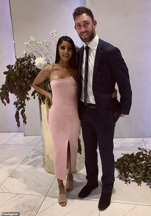 Australian power-hitter and IPL star Glen Maxwell, is pictured with his partner