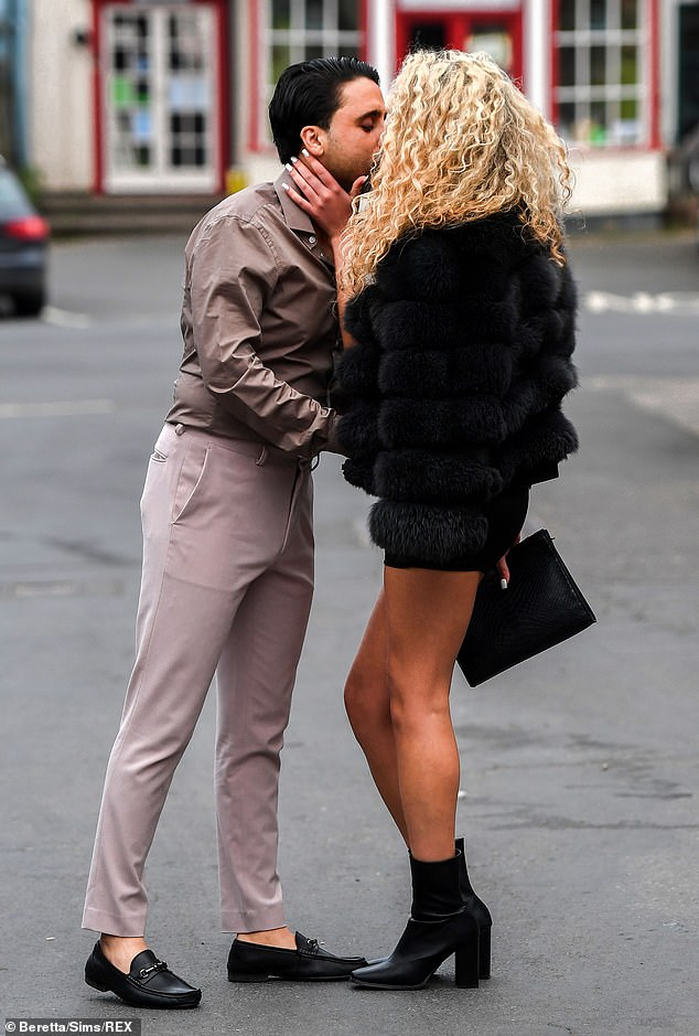 Locking lips: Dani - who works for Jessica Stone Ltd on clothing retail site ASOS - was reuniting with Gatsby having previously met the reality TV star on a blind date