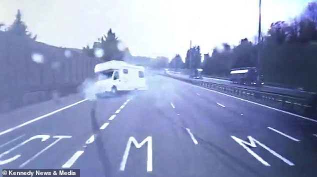 Amazingly, the large camper van did not topple over despite skidding sideways on the motorway
