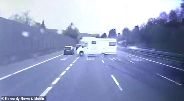 Luckily the van did not strike a Vauxhall Corsa driving along the nearside lane of the motorway