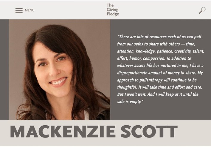 Shortly after her divorce, MacKenzie announced she'd joined The Giving Pledge, an organization set up by Bill and Melinda Gates and Warren Buffett where the richest people in the world donate half of their wealth to charity