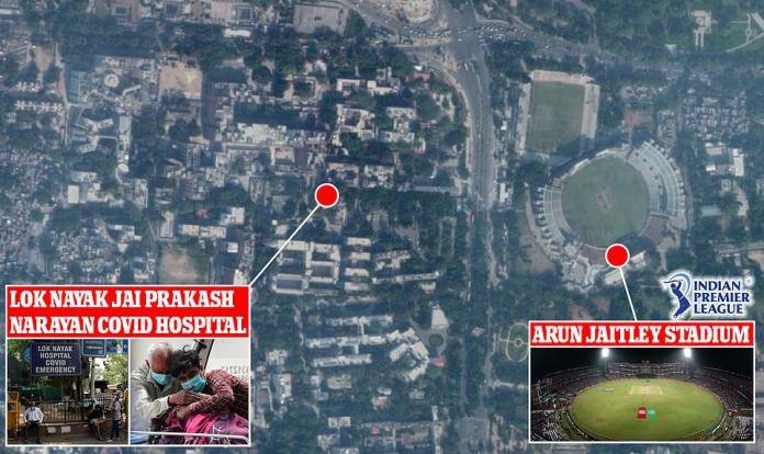 El cricket IPL se jugaba en un estadio directamente enfrente del principal hospital Covid de Delhi, el LNJP, que está luchando para hacer frente