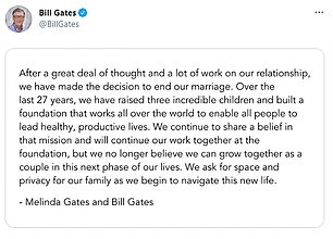 The 65-year-old Microsoft founder and his 56-year-old wife announced the split on Twitter. They both posted the same joint statement