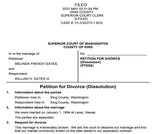In a divorce petition filed in Washington state and obtained by DailyMail.com showed Melinda filed for divorce from Bill on Monday, describing their marriage as 'irretrievably broken'