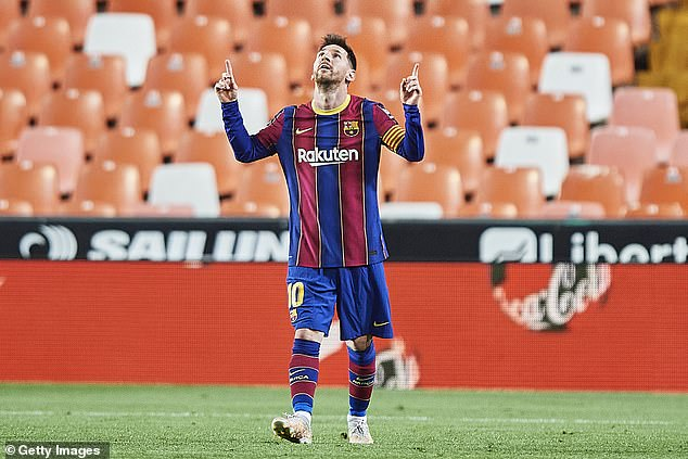 Messi's Barcelona side have a tally of 74 points in LaLiga and trail leaders Atletico by two