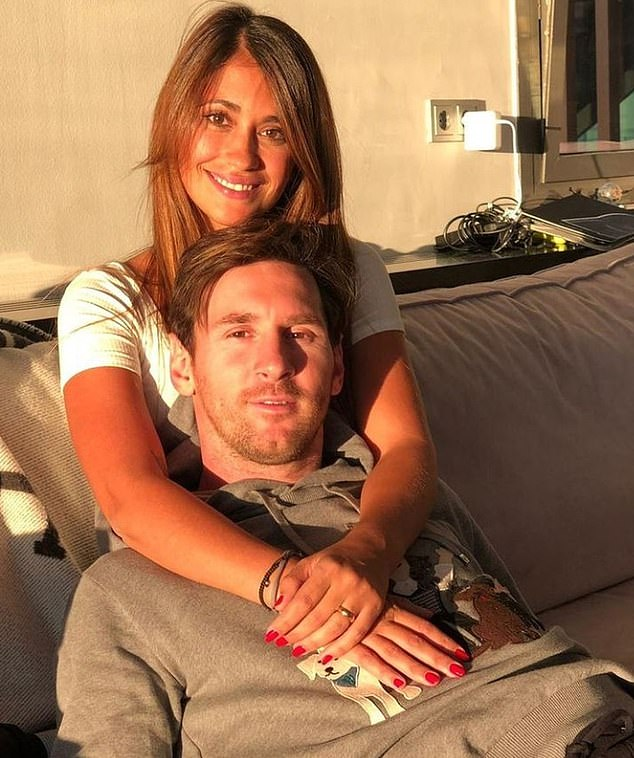 Messi, pictured with his wife Antonella on Valentine's Day, reportedly had the whole Barcelona squad over with their wives and girlfriends ahead of Saturday's clash with Atletico Madrid