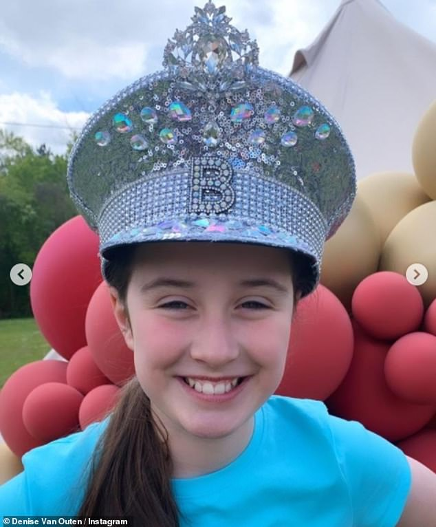 Birthday girl: The star also shared an image of a smiling Betsy wearing her dazzling silver hat, with the girl clearly delighted with her birthday present