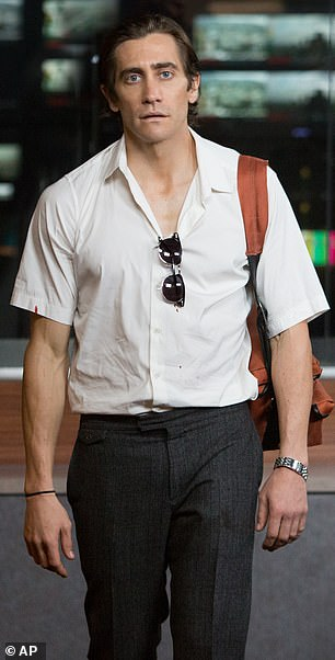 Jake Gyllenhaal had just come off the back of losing 30lbs to play a svelte crime reporter in Nightcrawler (pictured) when he had to set about gaining muscle mass for 2015 boxing film Southpaw