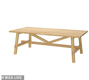 Meanwhile customers could receive up £249 for the Morbylanga table  and £213 for the Mockelby table (pictured)