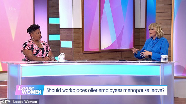 Appearing on the ITV show today, host Jane spoke to fellow presenter Brenda Edwards (left) about whether women should be given time off for symptoms of their menopause