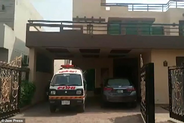 The woman was murdered by gunman at a rented home in Pakistan on Monday, it has been reported. Pictured:Mayra Zulfiqar's rented home in the Defense area of Lahore