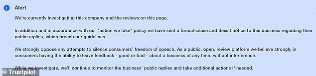 An alert on Symbio's Trustpilot page says it is currently investigating the company & reviews