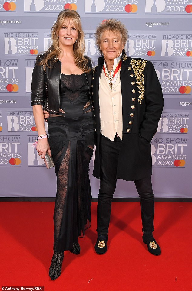 Worried: Speaking on Tuesday's Loose Women, the model, 50, also told how her rocker husband Rod Stewart, 76, was 'anxious' about her going on the beat for the first time