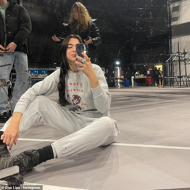 Nearly time! The social media upload comes after Dua teased fans with behind-the-scenes selfies from rehearsals in London ahead of her performance at the BRIT Awards next week