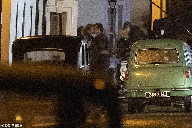 Scene: Pictured leaving a pub, called The Vine, the singer was seen sharing an on-screen kiss with the actress before they walked off arm-in-arm