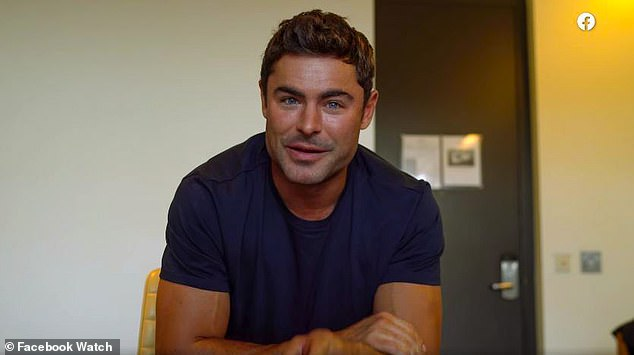 Make a splash: Efron got everyone talking when he appeared on Earth Day!  The Facebook music video with a more prominent square chin and jawline