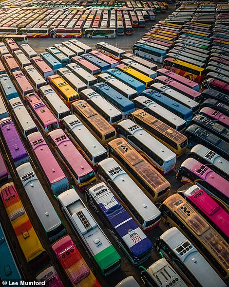 A shot of hundreds of parked-up tour buses in Hong Kong that Lee says shows the stark reality of the pandemic's effect on the travel industry