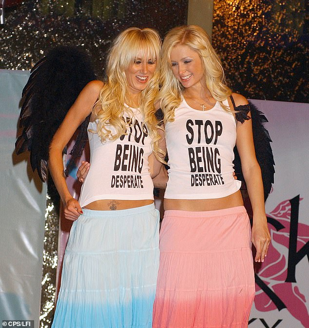 Back in the day: The original image was of Paris and Kimberly Stewart wearing the matching top during a party at the Palms Casino and Hotel in Las Vegas back in April 2005