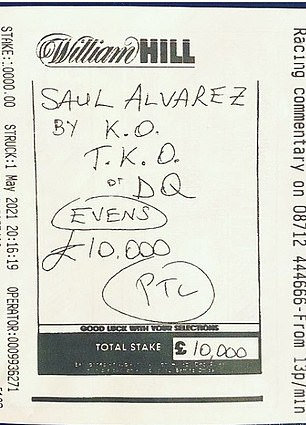 The £10,000 bet stake was uploaded to Instagram