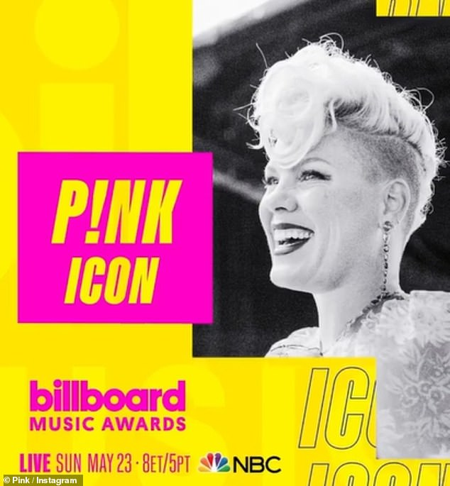 Big honor: Pink also shared the exciting news on her Instagram page, posting a teaser for the upcoming show, with the caption, 'I feel so humbled to be receiving the ICON Award at the @BBMAs and can't wait to perform! Sunday, May 23 at 8pm ET/5pm PT on NBC. #BBMAs #IconPINK'