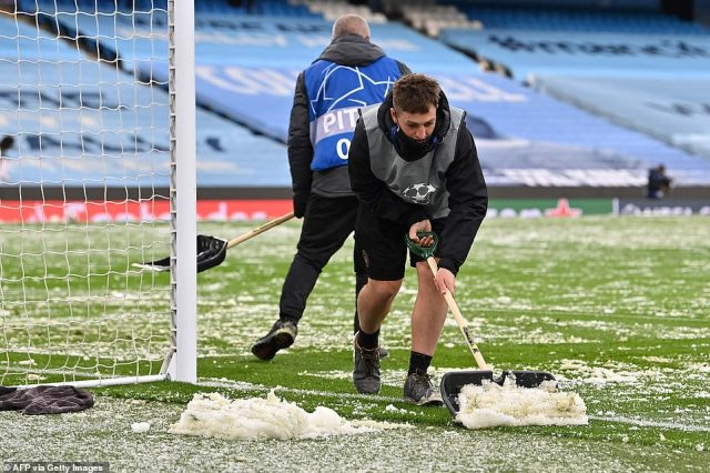 Snow and ice has blanketed the pitch for the Champions League semi final in Manchester (pictured), as temperatures plunged to 1C and wintery showers were forecast across swathes of the country