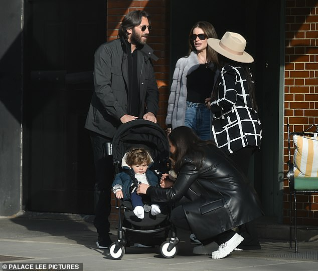 Happy family: Francesca met up with her sister Claudia, her partner - who is Sam Faiers' boyfriend Paul Knightley's brother Tony - and her nephew, baby Tony