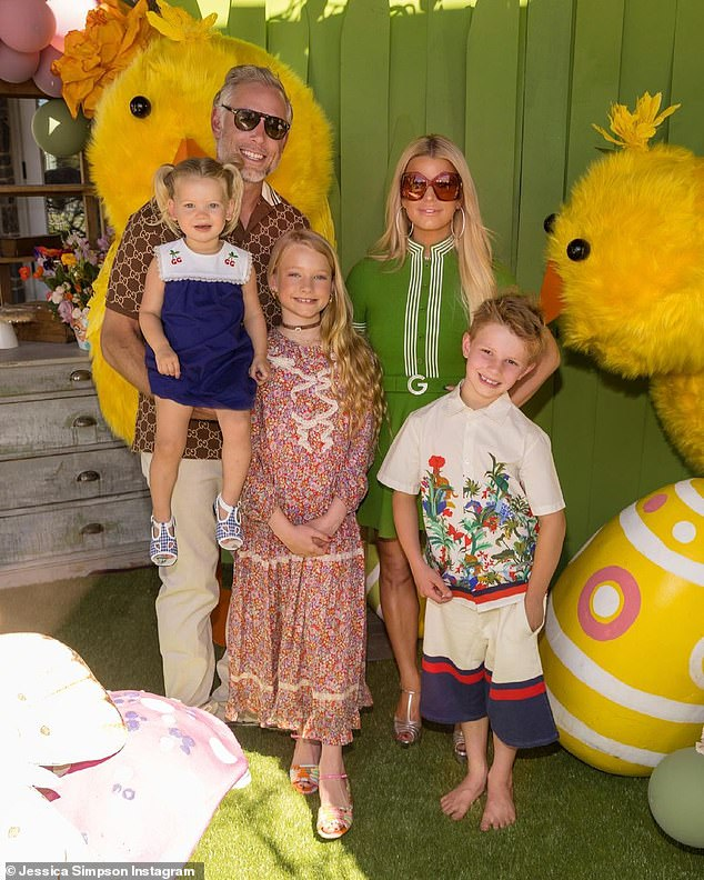 The family:She and husband Eric Johnson have daughters Maxwell, eight, and Birdie, two, and son Knute, seven; seen on Easter