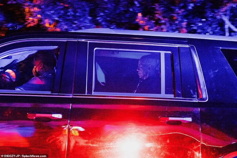 In keeping with the rules for former presidents, which prevents them from driving themselves on public roads, Barack kept his hands off the wheel as he and Michelle were chauffeured home in a six-car motorcade
