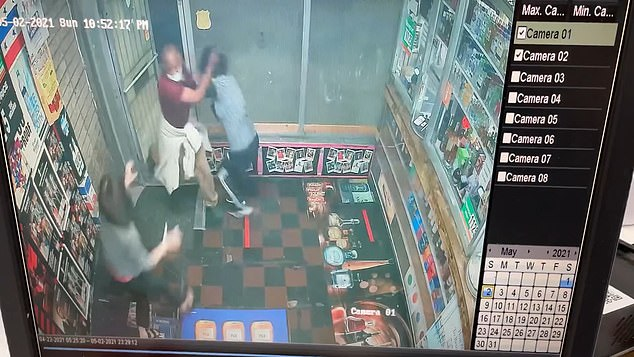 Surveillance video shows a man, believed to be Daryl Doyles, entering Wonderland Liquors in Baltimore on Monday evening, and battering two Korean-American sisters who work there