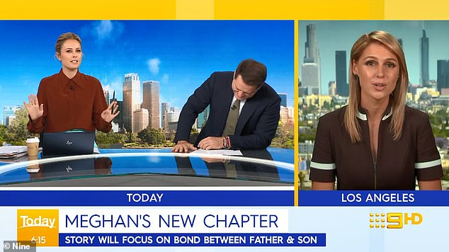 """""""In fact, they write poetry together!  Today host Karl Stefanovic (left, with co-host Allison Langdon) poked fun at Meghan Markle on Wednesday while discussing her new children's book on father-son relationships.  Right: Nine's US correspondent, Amelia Adams"""
