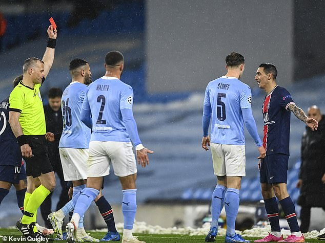 Angel Di Maria was shown a straight red card for a senseless stamp on Fernandinho