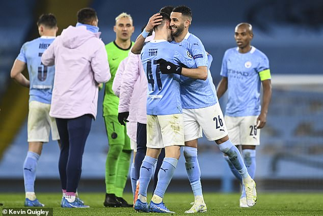City were dominant on the night, with top displays from Phil Foden and Riyad Mahrez (centre)