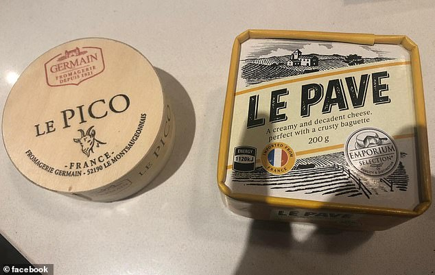 Aldi Australia has rereleased their wildly popular Le Pave cheese (right) after being discontinued for over a year, and this time a new Le Pico cheese made from goat's milk was also added to store shelves (left)