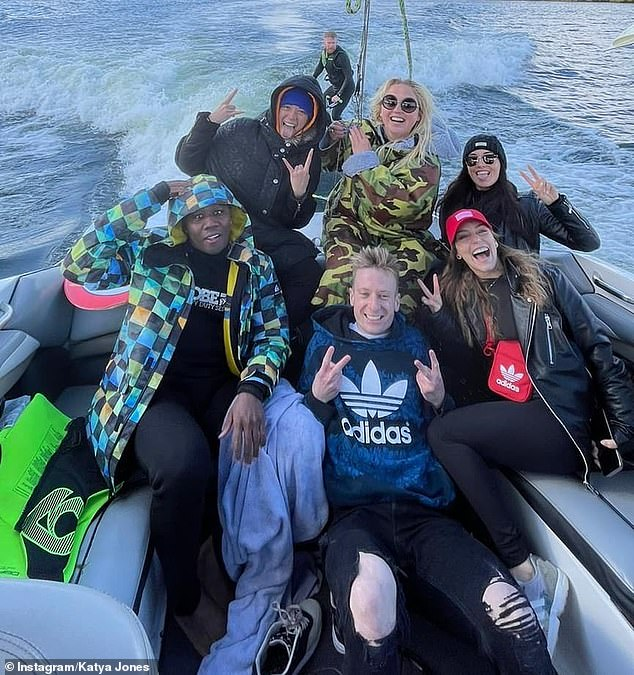 Boat party: Another picture saw the gang all pose on a boat as they partied outdoors in adherence with Covid restrictions