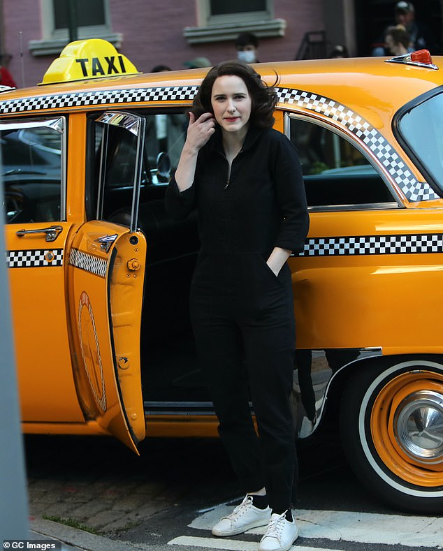 Filming: Rachel Brosnahan was all business on the streets of New York City as she shot on location scenes for the fourth season of Amazon Prime's The Marvelous Mrs. Maisel.