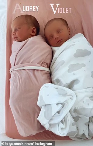 Adorable: The WAG celebrated one week since the babies' birth by posting a slideshow of photos and videos of the tiny tots to Instagram