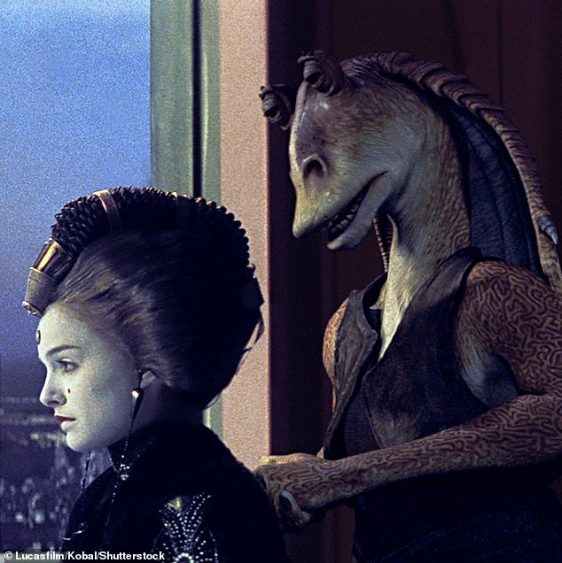 In the character: Portman played Padmé Amidala (left) in the highly anticipated George Lucas prequel trilogy, while Best played Jar Jar Binks (right)