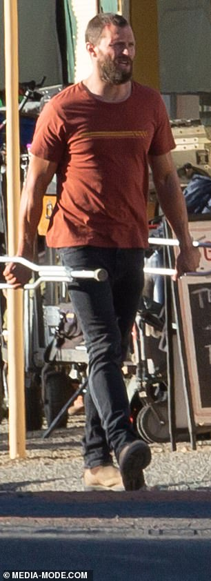Who's that guy? With his thick bushy beard, Jamie looked unrecognisable on-set