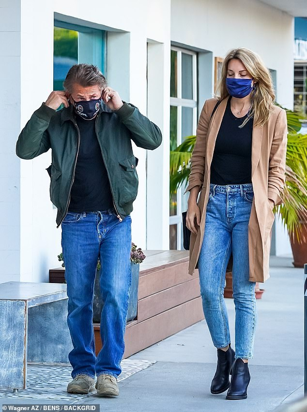 Matching outfits: Sean Penn and his wife Leila George, who he wed in a secret ceremony last August ceremony after four years of dating, stepped out for a romantic dinner on Tuesday