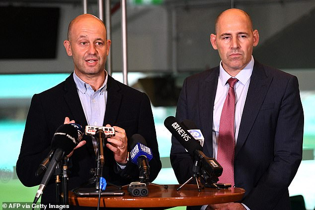 Pictured are Australian Cricketers' Association chief executive Todd Greenberg (left) and Cricket Australia interim CEO Nick Hockley (right)