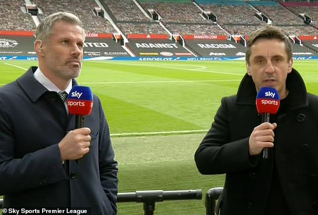 Arsenal boss Mikel Arteta has defended Pierre-Emerick Aubameyang after fierce criticism from Gary Neville (right) and Jamie Carragher (left) on Sky Sports