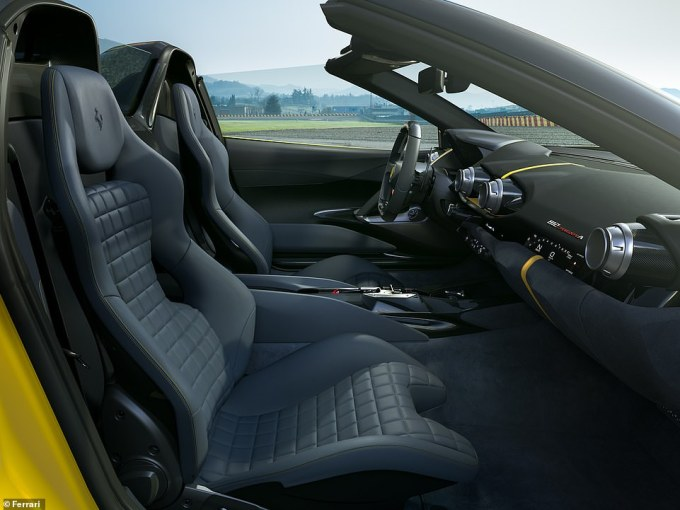 Ferrari says that great attention was paid to the design of the cockpit with the extensive use of carbon-fibre trim, lightweight technical fabrics and a reduction in sound-proofing