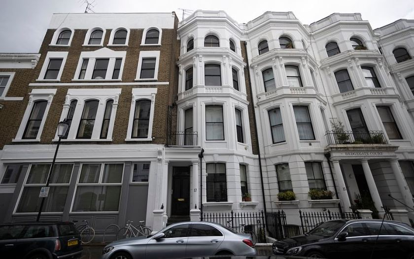 Home: Kamenis understood to have died yesterday at his home in West London (pictured above this afternoon)