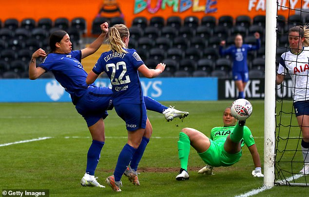 Sam Kerr scored twice as Chelsea beat Tottenham 2-0 to move a step closer to the WSL title
