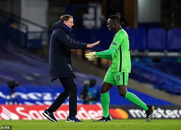 Chelsea boss Thomas Tuchel celebrates with goalkeeper Edouard Mendy