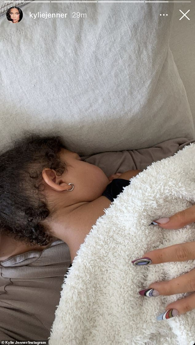 Doting mom: Kylie Jenner enjoyed some quality time with her three-year-old Stormi after spending a romantic weekend with her on-again, off-again boyfriend Travis Scott in Miami