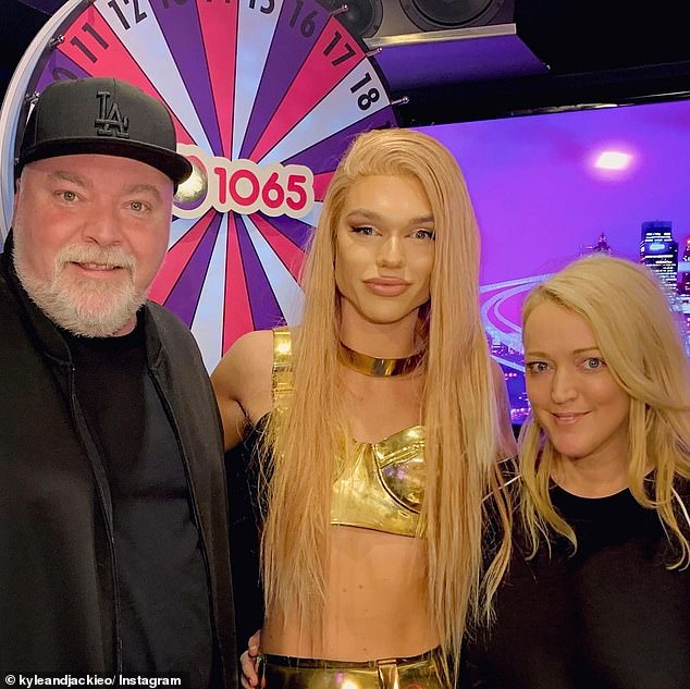 When Kyle met Jacqueline: Kyle Sandilands was tricked into admitting he'd 'bang' Jack Vidgen on Monday, after being shown a photo of him dressed as his drag queen alter-ego. On Thursday, Kyle and 'Jacqueline Vagine' met. Pictured with Jackie 'O' Henderson