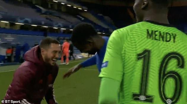 Immediately after the final whistle Hazard was seen joking with ex team-mate Kurt Zouma